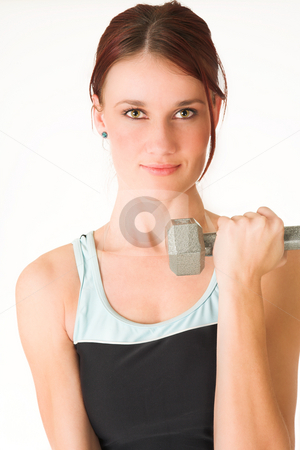 Gym #40 stock photo, A woman in gym clothes, training with weights by Sean Nel