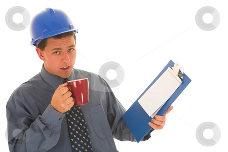 Businessman #106 stock photo, Working man dirinking coffee. by Sean Nel