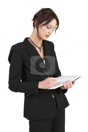 Luzaan Roodt #28 stock photo, Business woman in formal black suit holding diary and pen - looking down by Sean Nel