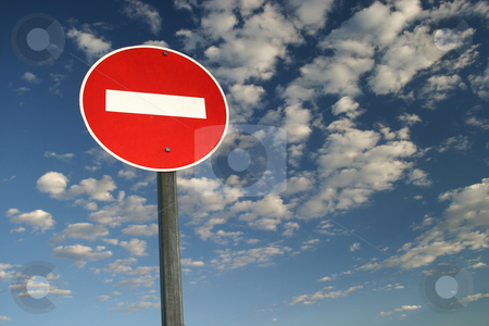 No Entry stock photo, No entry sign against blue sky by Sean Nel