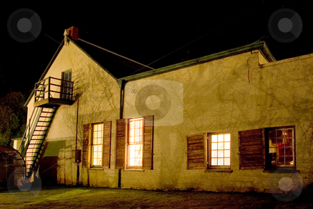 Cape - Farm House #2 stock photo, Old farm house converted into a small hotel, Night Scene - Colesberg, South Africa by Sean Nel