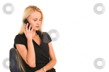 Businesswoman#370 stock photo, Blond Business Woman, eyes closed, talking on phone, upset, sitting on chair, copy space, blank by Sean Nel