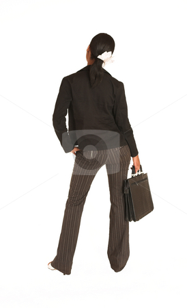 Mida Matsimela #5 stock photo, African business woman dressed in black jacket. Holding a leather suitcase by Sean Nel