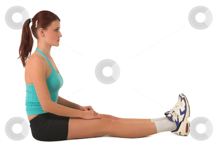 Gym #126 stock photo, Woman sitting on floor, stretching. by Sean Nel