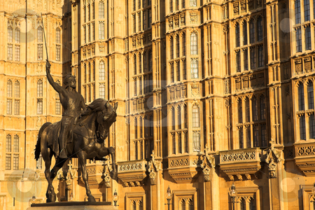 Westminster #6 stock photo, The buildings of the House of Parliament with a statue of Richard on his horse by Sean Nel