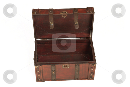 Suitcase#002 stock photo, Open treasure case on white background by Sean Nel