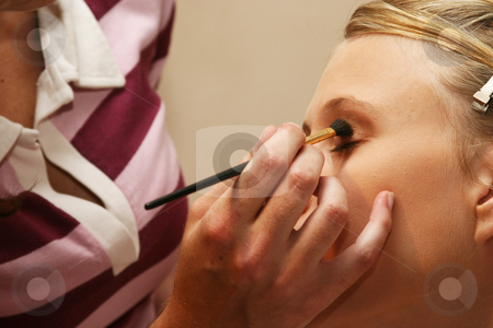 Artist applying cosmetics stock photo, Eyebrush makeup being applied by Sean Nel