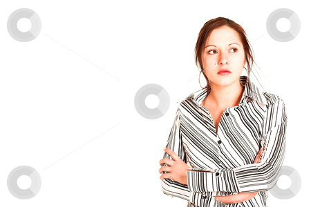 Business Woman #330 stock photo, Business woman with brown hair, dressed in a white shirt with black stripes.  Copy space by Sean Nel