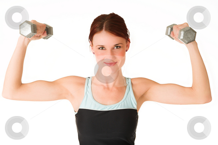 Gym #3 stock photo, A woman in gym clothes, holding weights. by Sean Nel
