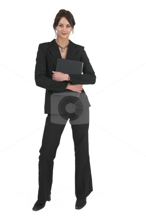 Businesslady #73 stock photo, Dark haired business woman with black file by Sean Nel