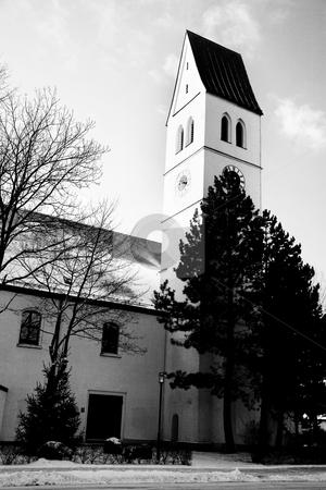 Munich #17 stock photo, A church in Munich in the winter.  Black and white photo. by Sean Nel