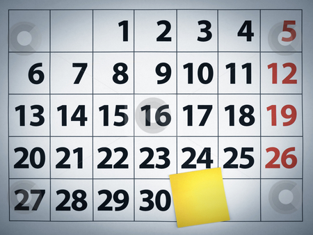 Blank sticky note on a calendar stock photo, Close up of a blank sticky note on a calendar post it on the 31st day. by Ignacio Gonzalez Prado