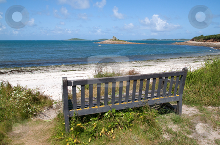 Bench with a view of Porthloo beach, St. Mary's Isles of Scilly. stock photo, Bench with a view of Porthloo beach, St. Mary's Isles of Scilly. by Stephen Rees