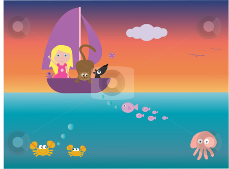 All at sea stock vector clipart, Vector illustration of a girl and her pets in a boat at sea - with a view of underwater creatures.  I have other files for children in my portfolio. by Rachel Gordon