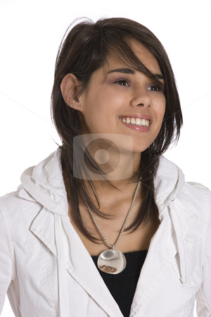 Portrait of a teen girl stock photo, Portrait of a teenager girl against white background by Yann Poirier