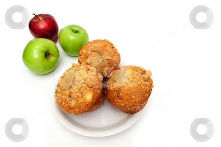 Apple Muffin stock photo, Fruit muffins on a white plate with red and green apples on the side by Lynn Bendickson
