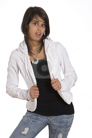 Teen with surprise expression stock photo, Portrait of a teenager girl against white background in fashion with an expression of surprise by Yann Poirier