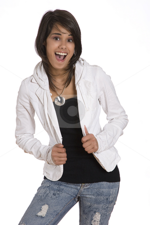 Happy teen stock photo, Portrait of a teenager girl against white background in fashion with an expression of extreme happiness by Yann Poirier