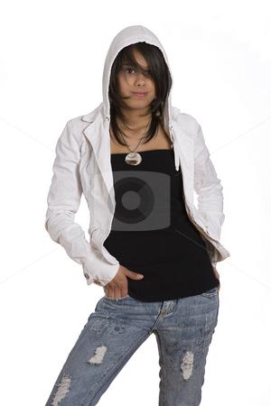 Teen in hoddy stock photo, Teenager girl wearing a white hoddy by Yann Poirier