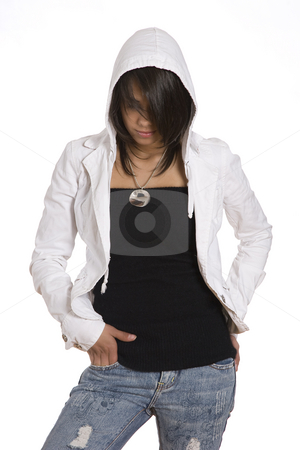 Teen in hoddy stock photo, Teenager girl wearing a white hoddy by Yann Poirier
