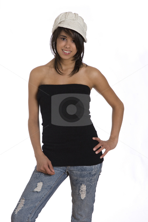 Teenage girl stock photo, Teenager girl wearing a black tube top by Yann Poirier