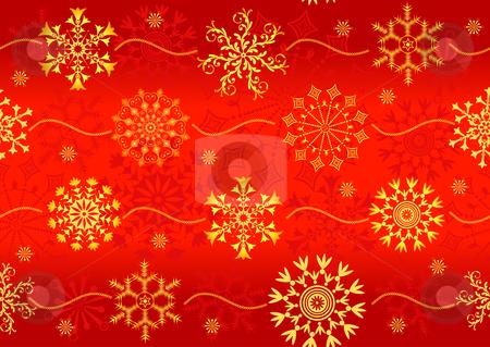 Seamless christmas red pattern  stock vector clipart, Seamless christmas red pattern with golden snowflakes (vector) by Olga Drozdova