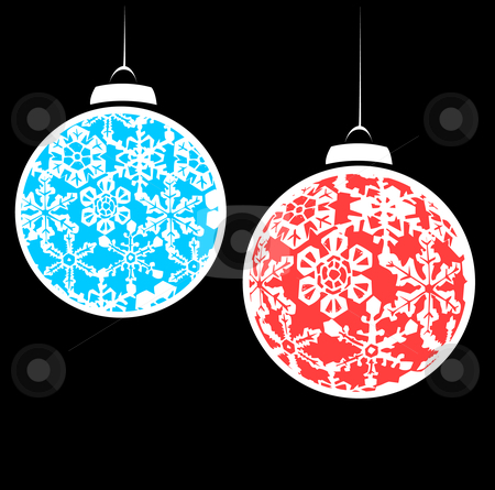 Snowstorm Christmas Ornaments #2 stock vector clipart, Hanging christmas ornaments with a snowflake motif. by Jeffrey Thompson