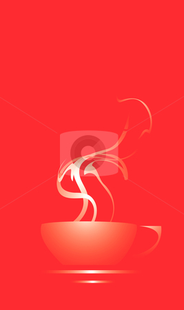 Steaming Coffee Cup stock vector clipart, Coffee cup on a red background with steam coming out. by Jeffrey Thompson