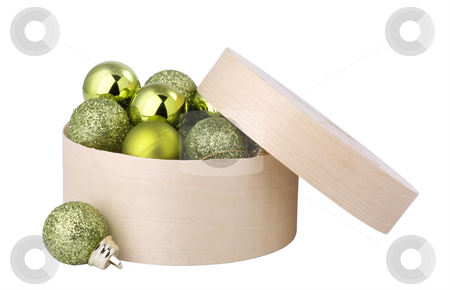 Green New Year's balls in box. stock photo, Green New Year's balls in a round, wooden box. by Valery Kraynov