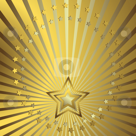 Golden background  stock vector clipart, Golden background with silvery beams and stars by Olga Drozdova