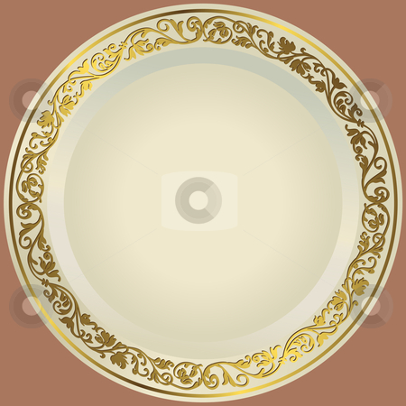 Old-fashioned white plate stock vector clipart, Old-fashioned white plate with a gold vintage ornament by Olga Drozdova