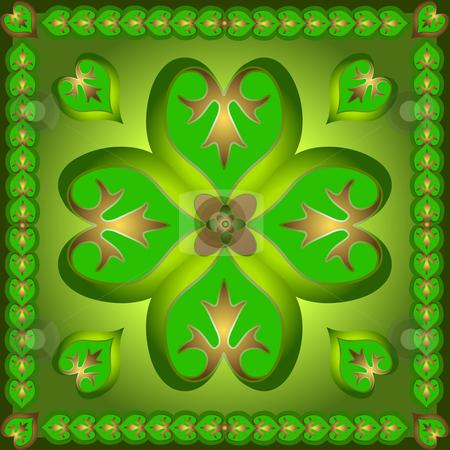 Retro  ornament with green shamrocks stock vector clipart, Retro  ornament with green shamrocks by Olga Drozdova