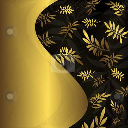 Abstract floral black and golden frame (vector) stock vector clipart, Abstract floral black and golden frame (vector) by Olga Drozdova