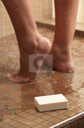 Woman in shower stock photo, Legs of a young caucasian adult woman in shower by Sean Nel