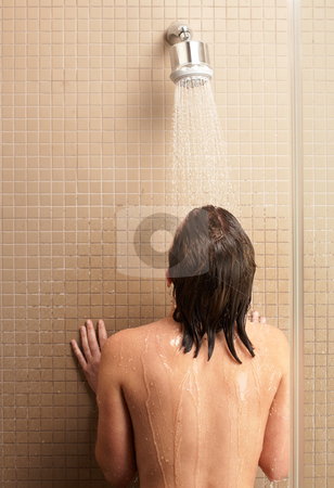 Woman in shower stock photo, Young caucasian adult woman in shower by Sean Nel