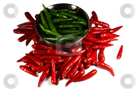 Red and Green Spicy chili pepper in the plate stock photo, Red and Green Spicy chili pepper in the plate. Isolated on white by Oleg Blazhyievskyi