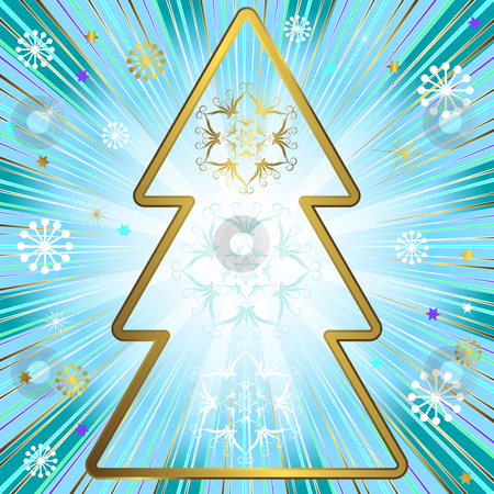 Blue christmas background (vector)  stock vector clipart, Blue christmas background with golden frame, beams and snowflakes (vector) by Olga Drozdova