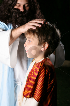 Jesus Blessing the Children stock photo, Jesus blessing a child by Leah-Anne Thompson