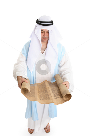 Biblical man or scribe reading holy torah scroll stock photo, Biblical man or scribe reading holy torah scroll by Leah-Anne Thompson