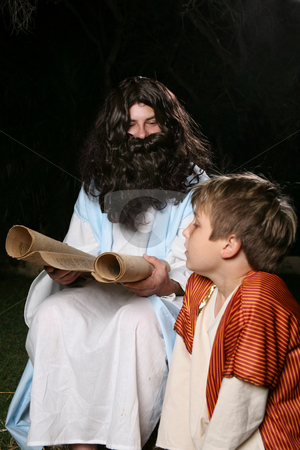 Reading the scriptures stock photo, Jesus with a child or other biblical man (eg Elijah the prophet teaching Samuel)  reading and teaching the scriptures to an attentive child. by Leah-Anne Thompson