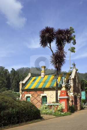 Botanic gardens stock photo, A colorful building in the botanic gardens at doddabetta nilgiri hills south india by Mike Smith