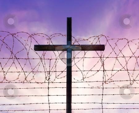 Cross of christ behind barbed wire stock photo, Cross of christ behind rolls of barbed wire by Phil Morley