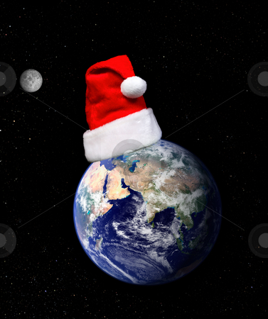 Christmas around the world stock photo, Earth globe and santa hat on a dark background with moon and twinkling stars. Concept, Christmas around the world, Christmas holidays, etc    Earth globe showing Europe and Asia from Nasa terra satellite MODIS.  Space for copy. by Leah-Anne Thompson