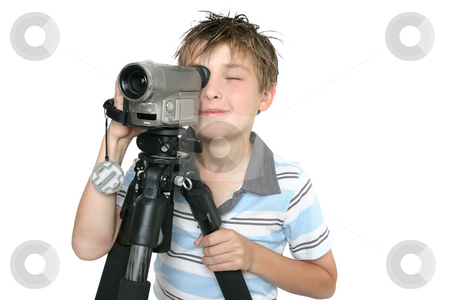 Shooting video with tripod stock photo, Child creating a short movie using video camera and tripod.  Whtie background by Leah-Anne Thompson