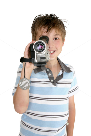 Video recording stock photo, A child taking some video footage with a digital video camera. by Leah-Anne Thompson