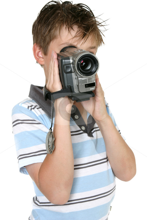 Using a Digital Video camera stock photo, Boy using a handheld digital video camera by Leah-Anne Thompson