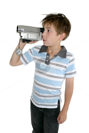 Creating your own movies stock photo, A child filming with a video camera by Leah-Anne Thompson