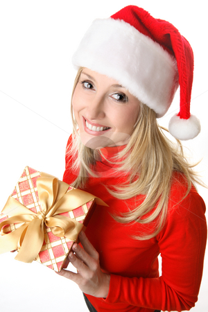 Female with Christmas Present stock photo, Above view female in red holding a Christmas present. by Leah-Anne Thompson