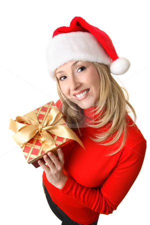 Female holding a Christmas present stock photo, Friendly, smiling woman in red holding a red and gold present tied up with a golden satin bow. by Leah-Anne Thompson