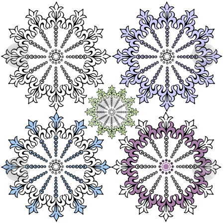 Vintage pastel decorative snowflakes for design (vector) stock vector clipart, Vintage pastel decorative snowflakes for design (vector) by Olga Drozdova